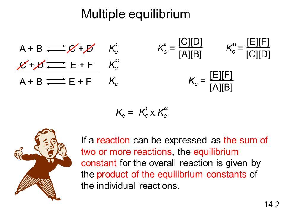 Multiple equilibrium ' ' ' ' ' Kc = [C][D] [A][B] Kc = [E][F] [C][D]